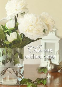 How to Etch a Glass Vase with Chevron Stripes at TidyMom.net
