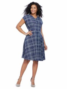 EFFIES HEART Nina Dress in Winter Plaid Navy Blue Cotton Jersey Knit Plus Sz 2X #EffiesHeart #FitFlareTeaDressSkaterDress #AnyOccasion