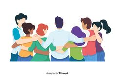Flat youth people hugging together Free Vector | Free Vector #Freepik #vector #freepeople #freedesign #freewoman #freeman