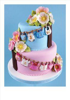 Too cute!  Baby gender reveal cake.