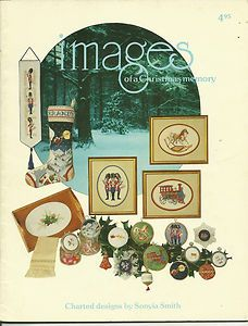 Images of a Christmas Memory cross stitch and needlepoint patterns by Annie Designs.  Toy soldiers, toy train, rocking horse, Christmas stocking, holly border. For ornaments, jar lids, a rug.