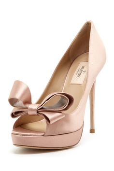 Satin Bow Peep Toe Valentino Pumps//