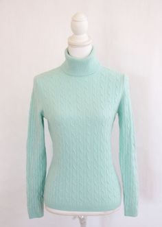 Peck & Peck 2 Ply Cashmere Turtleneck Sweater Women's Sz Large Light Blue Cable  #PeckPeck #TurtleneckMock #Casual