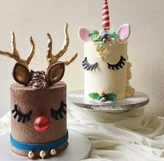 Reindeer and Unicorn cakes #christmascakeideas
