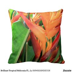 Brilliant Tropical Heliconia Florals Pillow