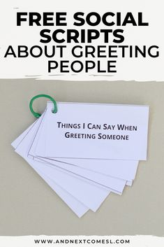 Social scripts are a great way to help kids with autism with conversation and social skills. Use this free printable social script to teach kids how to greet people. Social Skills Lessons, Teaching Social Skills, Social Emotional Learning, Teaching Kids, Life Skills, How To Teach Kids, Help Kids, Coping Skills Activities, Preschool Special Education