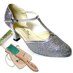 Bundle Lightweight Very Fine Women Ballroom Salsa Latin Tango Dance Shoes 9627  Brush  Pouch Silver Sparklenet 65 M US 25 Inch * Check out the image by visiting the link.
