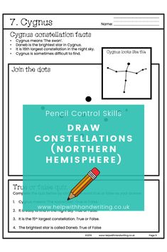Did you know that dot to dot activities can improve writing speed? Complete 15 worksheets by drawing constellations from the northern hemisphere & answer the true/false quiz. Suitable for 6 to 8 years of age. Handwriting for kids how to improve. Teaching Handwriting, Handwriting Activities, Neat Handwriting, Improve Handwriting, Handwriting Practice, Secular Homeschool Curriculum, Homeschooling, Fine Motor Activities For Kids, Science Activities