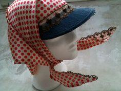 satin sun visor scarf with polkadots  Peddoekie by door pepavana, €19.50