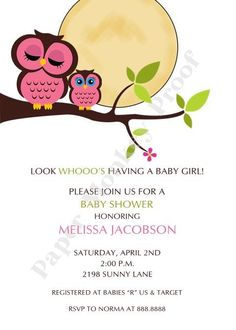 Owl Baby Shower Invitations for Boy or Girl by PaperMonkeyCompany, $1.00
