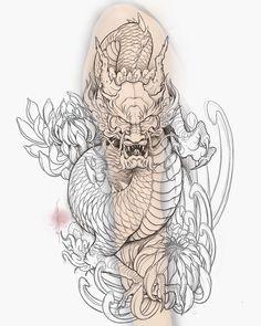 Dragon Tattoo Stencil, Dragon Tattoo Drawing, Dragon Head Tattoo, Dragon Sleeve Tattoos, Dragon Tattoo Designs, Full Sleeve Tattoos, Tattoo Sleeve Designs, Japan Tattoo Design, Japanese Tattoo Designs