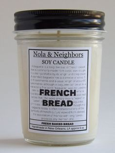 Fresh baked bread French Bread candle 6 oz soy by NolaAndNeighbors