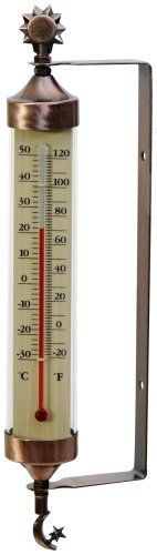 Weathered Copper Tube Thermometer with Sun and Moon Accents