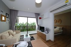 Treetops condominium Pattaya, Boutique Groups latest project. Showroom Thappraya Road. 1 bedroom, living area.