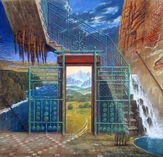 Marcin Kołpanowicz - THE LIFT, pastel, 70 x 70 cm, 2002