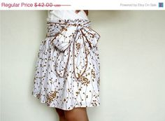 ON SALE  White Skirt in screenprinted cotton brown by LoNaDesign, $29.40