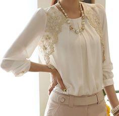 2014 Moda Yeni Kadın Nakış Uzun kollu şifon Gömlek Dantel Bluz Lady Gündelik Temel Gömlek Bayan giyim SML XL US $10.88: