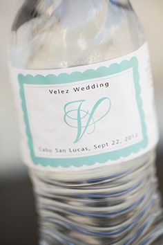 destination wedding water bottle favor. photo by amybennettphoto.com