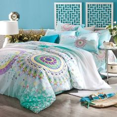 Turquoise Aqua Blue Purple and Yellow Bohemian Tribal Style Circle Print Indian Pattern 100% Tencel Full, Queen Size Bedding Sets