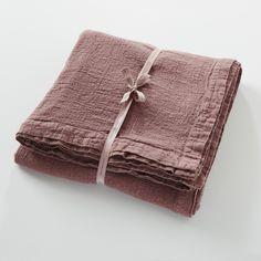 French Woven Slub Linen Bedspread - Rose Pink