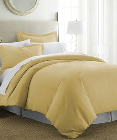 Look at this #zulilyfind! Gold Ultra-Soft Three-Piece Duvet Set #zulilyfinds