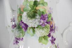 Porzellan Kaffee Service C.Tielsch & Co. Altwasser mit Blumen Dekor 19.Jh