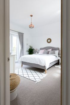 Grey, white and blush bedroom with metallic accents #manchesterwarehouse
