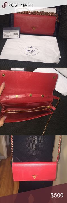 """Authentic Prada Cross body💕 origninal box and tag included!! Saffiano leather. Golden hardware. Chain-leather shoulder strap; 21 3/4"""" drop. Front flap with logo detail; snap-button corners. Inside, three bill slots, six card slots, zip compartment. Purchased for $634.70 (tax included) Great deal and excellent condition! 4""""H x 8 1/2""""W x 1""""D; weighs 10oz. Made in Italy. NO TRADES🙅🏻 Prada Bags Crossbody Bags"""