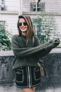 Khaki Sweater & Zaitegui Skirt