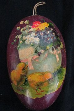 """Rare Vintage 1920's Paper Mache 4½"""" Display EASTER EGG GERMANY Ex. Cond."""