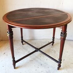 Lovely Vintage Drop Leaf Table with Cast Iron Stretcher Base on Casters $265