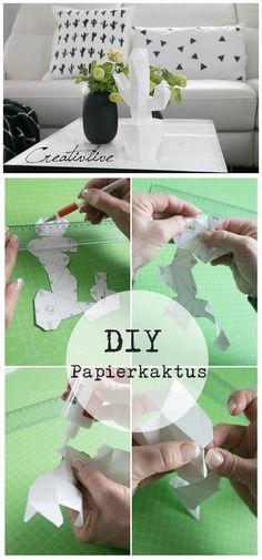 DIY 3D-Kaktus aus Papier gefaltet. Vorlage von Papershape aus der Made in Paper