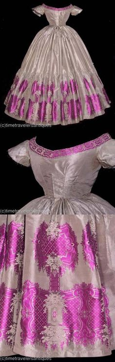 A silk taffeta ball gown with a deep ruffled silk flounce with a vibrant floral silk brocade motif, and a complimenting border at the decolletage. The lined bodice has a blind front hook and eye closure, is piped at the armscyes, and is trimmed in a pretty black French Chantilly lace at the neckline and sleeves. Piped at the directionally pleated waistband of the unlined skirt, with a deep polished cotton facing and a twill tape floor brush. Circa 1864.