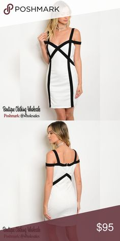 """6x $15 each White / Black Bodycon Mini Dress 6 Piece Prepack 2 Small 2 Medium 2 Large *for individual pricing visit @modabyboutique  $15 each Bodycon Mini Dress, White with Black striping,  sweetheart neckline, cold shoulder  95% polyester 5% spandex Has little stretch Measurements for Large 35"""" length 30"""" bust 32"""" waist   Notes: These are quality boutique garments, not something off a chinese website  Discounts availible on bundled listings  Boutique Clothing Wholesales @wholesales…"""