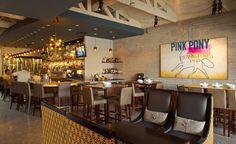 Pink Pony Restaurant Design, Custom Seating, Bar Design, Hospitality Design, Interior Design by Bar Napkin Productions #BarNapkinProductions