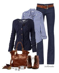 Navy sweater, Gingham shirt, Jeans, Brown boot and belt - Casual Outfit Fall Winter Outfits, Autumn Winter Fashion, Mode Style, Style Me, Mode Outfits, Casual Outfits, Look Fashion, Womens Fashion, Fashion Trends