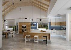 professionell designte Küche mit Kochinsel  mit skandinavischem Flair-transparente Pendelleuchten
