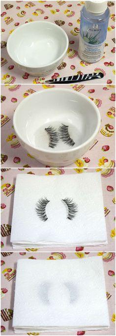 Clean False Eyelashes
