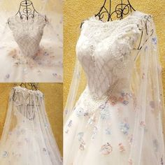 White Organza Beaded Long Sleeve Fairylike Bridal Wedding Dresses SKU-119033