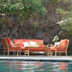 Teak Sofa Set 5 pc. with Choice of Cushion Color