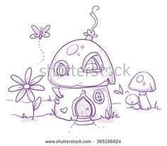 Cute romantic mushroom house for magic fairy or gnome. Hand drawn vector cartoon doodle illustration - stock vector