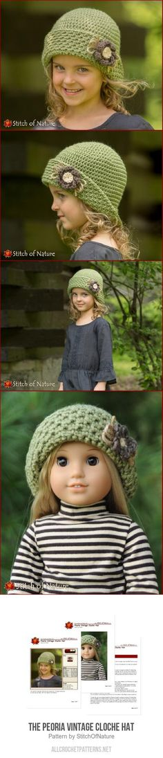 The Peoria Vintage Cloche Hat crochet pattern