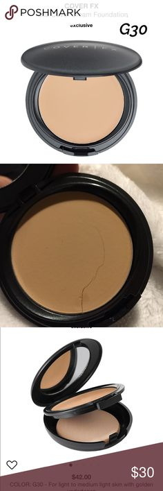 COVER FX TOTAL COVER CREAM FOUNDATION ~ G30 COVER FX TOTAL COVER CREAM FOUNDATION ~ SHADE IS G30- FOR LIGHT TO MEDIUM LIGHT SKIN WITH GOLDEN UNDERTONES ~ THIS IS NEW BUT HAS A VERY FINE LINE GOING ACROSS THE PRODUCT (please see pic) ~ NO BOX Cover FX Makeup Foundation