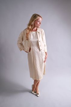 1950s ivory silk dress / 50's 60's simple wedding dress / Courthouse Wedding by coralvintage, $200.00