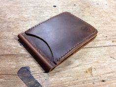Leather money clip wallet Dark Brown Crazy Horse by 896LeatherShop,