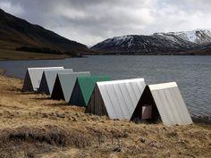 Boat sheds near Lake Meðalfellsvatn, Iceland.