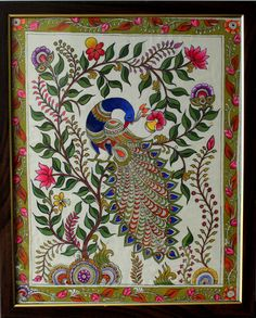 Madhubani Paintings Peacock, Peacock Painting, Madhubani Art, Dot Art Painting, Fabric Painting, Gond Painting, Saree Painting, Kalamkari Painting, Kerala Mural Painting