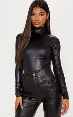 Shop women's dressy tops for a classy look that won't go unnoticed. Shop dressy shirts at PLT USA. Dressy Tops, Dressy Evening Tops, Tight Leather Pants, Leather Trousers, Sexy Outfits, Fashion Outfits, Leder Outfits, Womens Bodysuit, Bodysuit Tops