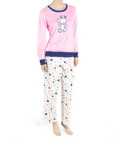 Loving this Pink & White Peanuts Pajama Set - Juniors on #zulily! #zulilyfinds