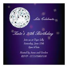 Purple Disco Ball Birthday Party Invitation